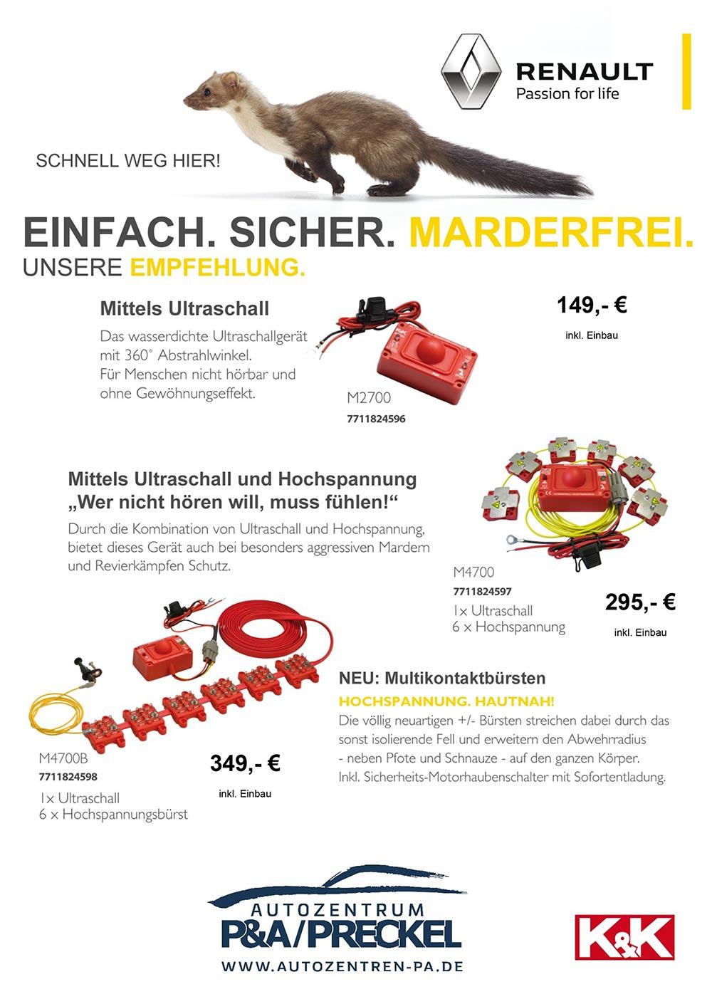 Marderabwehr System Angebot im Autozentrum P&A-Preckel