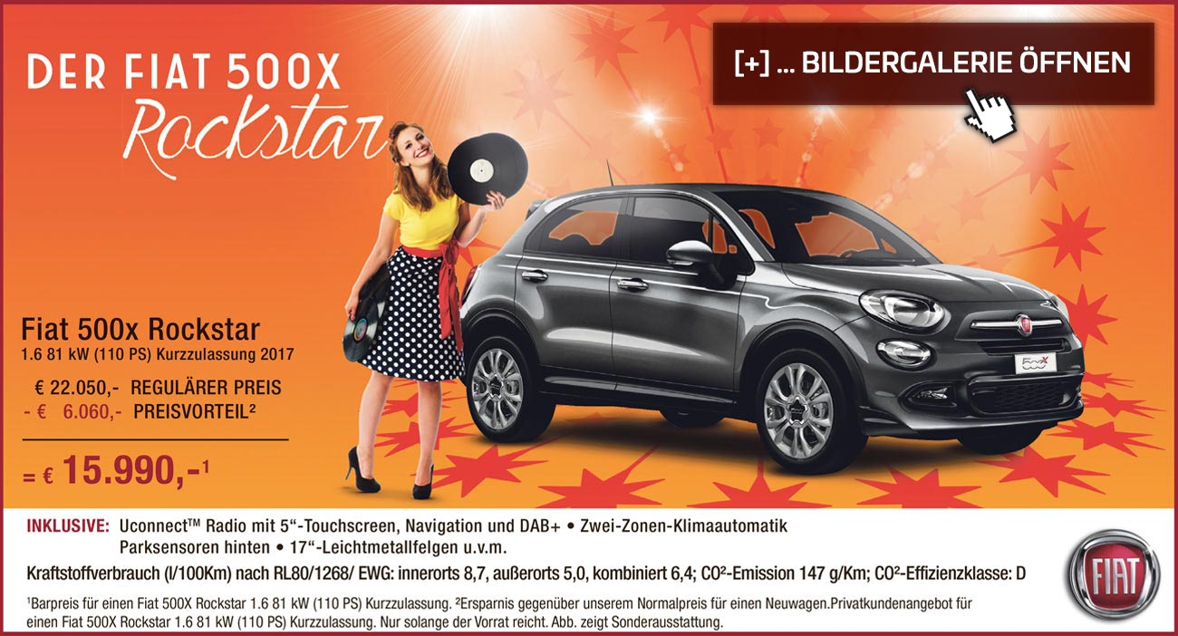 fiat 500x rockstar sonderangebot im autozentrum p a preckel. Black Bedroom Furniture Sets. Home Design Ideas