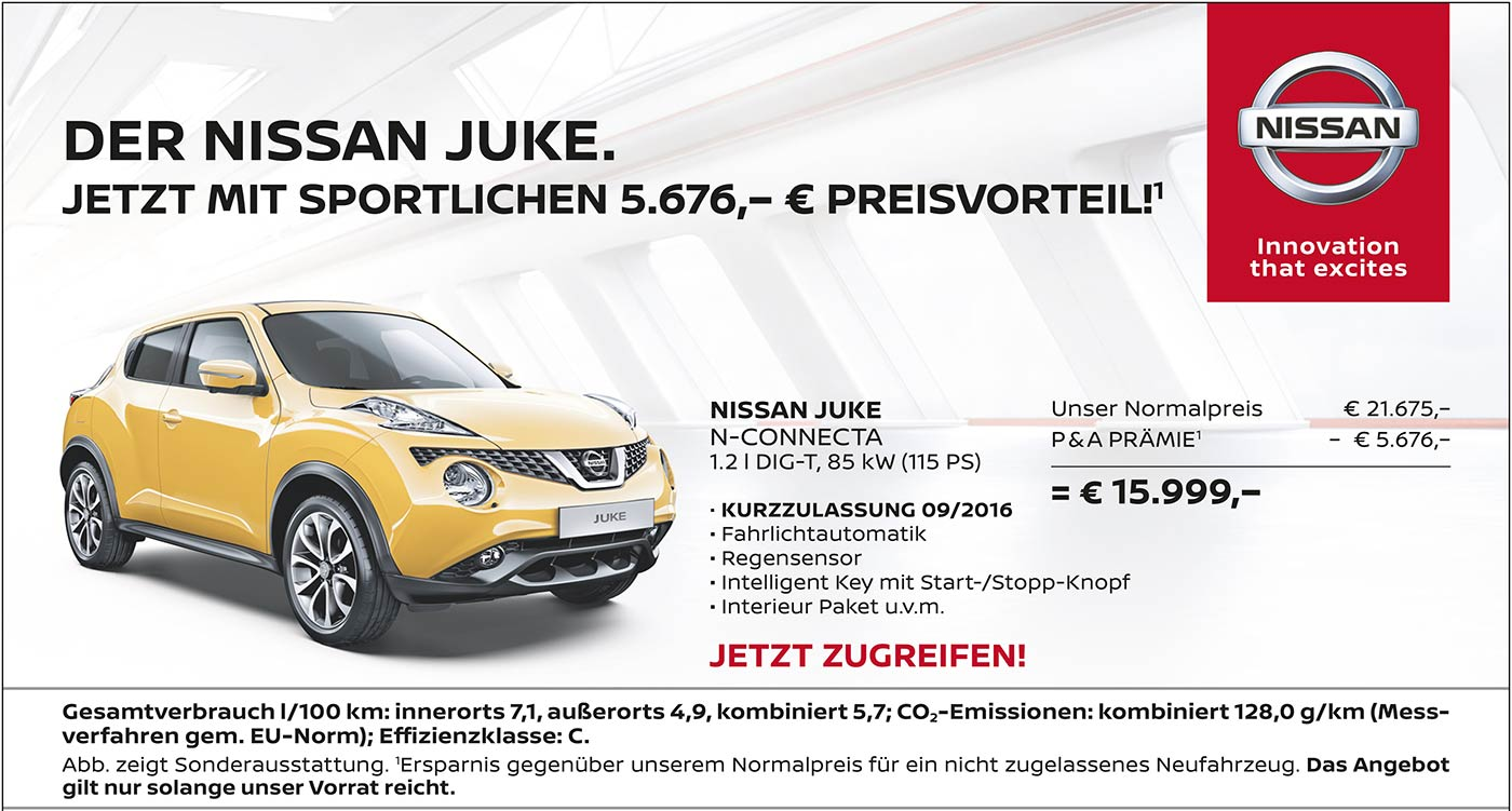 Top angebote nissan autozentrum p a preckel for Nissan juke angebote
