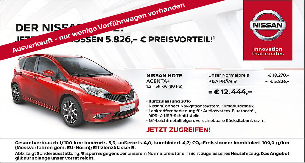Nissan Note Angebot 2017