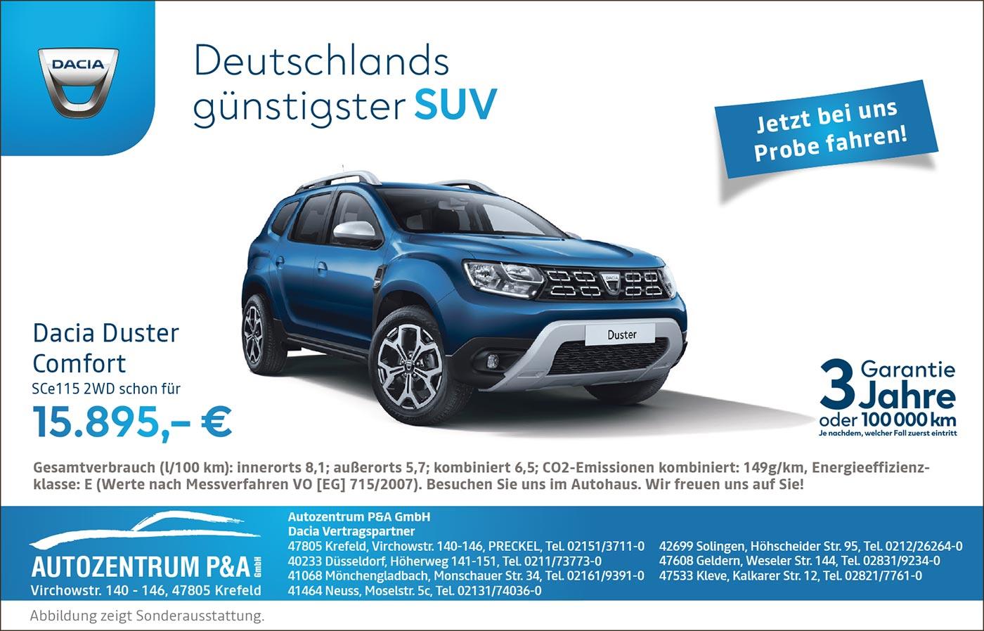 Dacia Duster 2019 Angebot vom Autozentrum P&A-Preckel