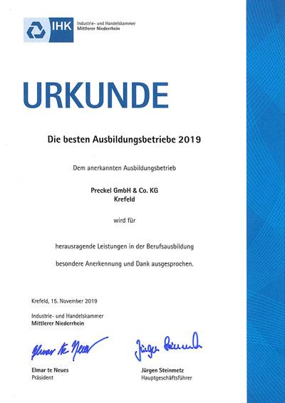 Urkunde bester Ausbildungsbetrieb 2019 Preckel Krefeld
