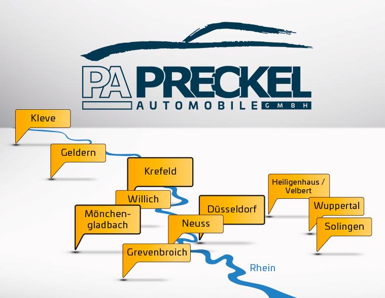 Standorte der Filialen des Autozentrum P&A-Preckel