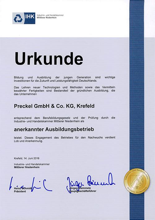 Anerkannter Ausbildungsbetrieb: Preckel