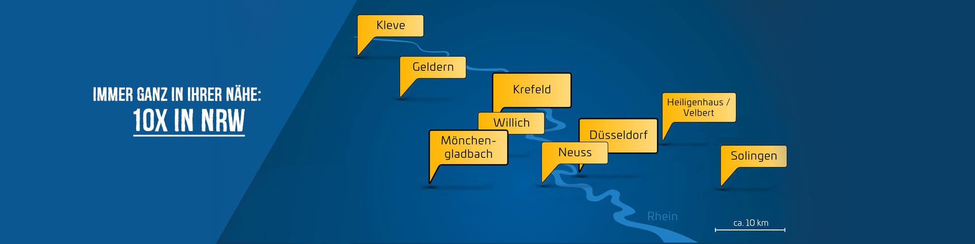 Standorte vom Autozentrum P&A-Preckel in NRW
