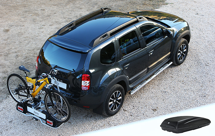 Erweiterung durch Dachbox und Fahrradträger