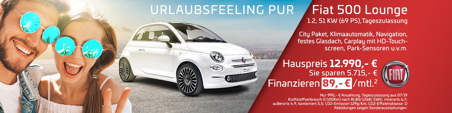 Fiat 500 Lounge für 89 Euro im Monat
