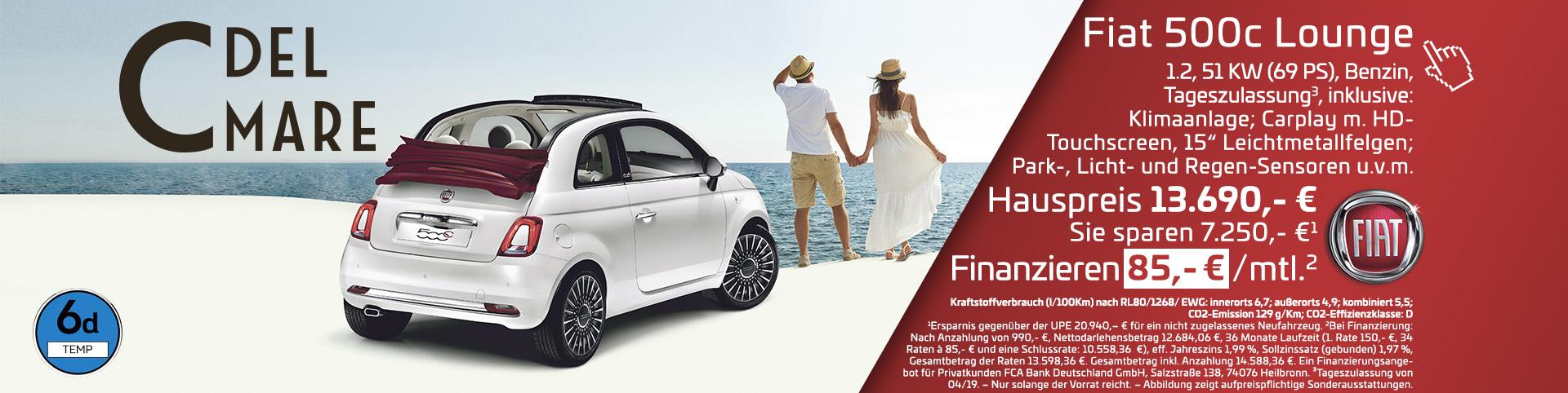 Fiat 500C Finanzierung 85 Euro pro Monat