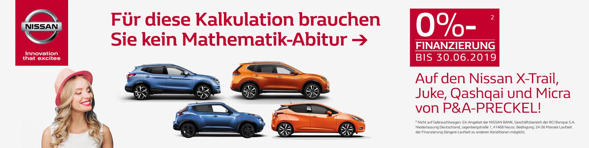 0% Finanzierung bei Nissan Juke, Qashqai, Micra, X-Trail