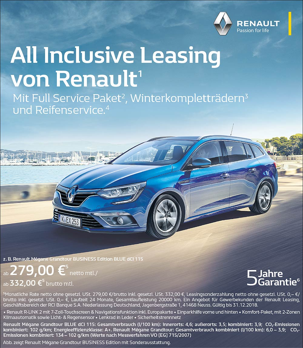 Anzeige Renault All Inclusive Business Leasing