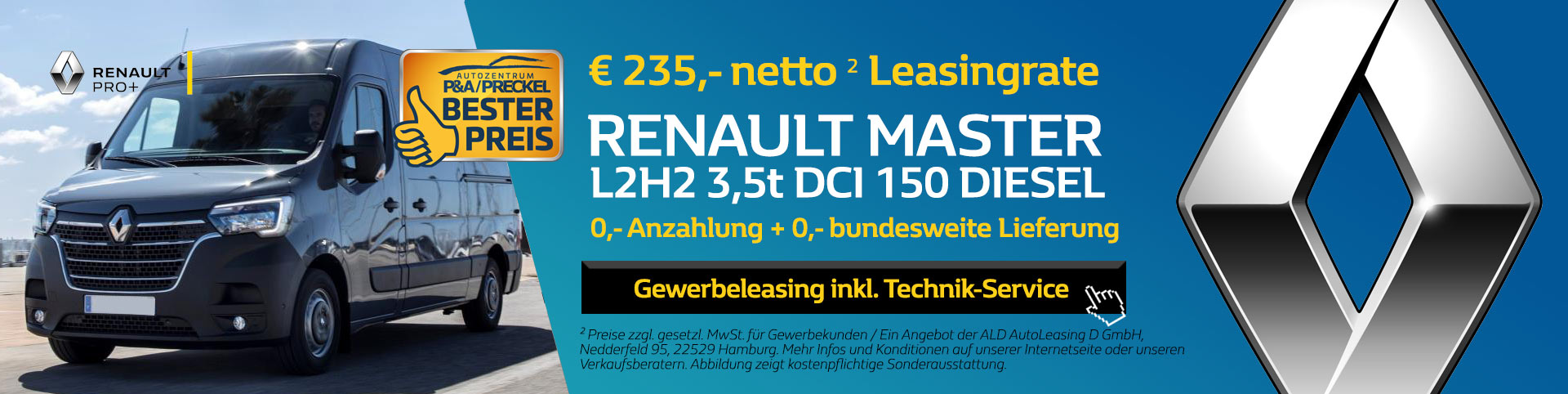 Neuer Renault Master L2H2 Leasing