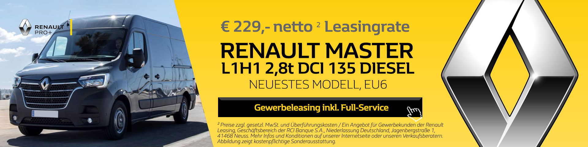 Neuer Renault Master L1H1 Leasing