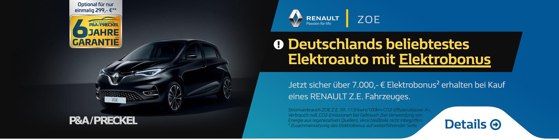 Renault ZOE mit Elektrobonus kaufen