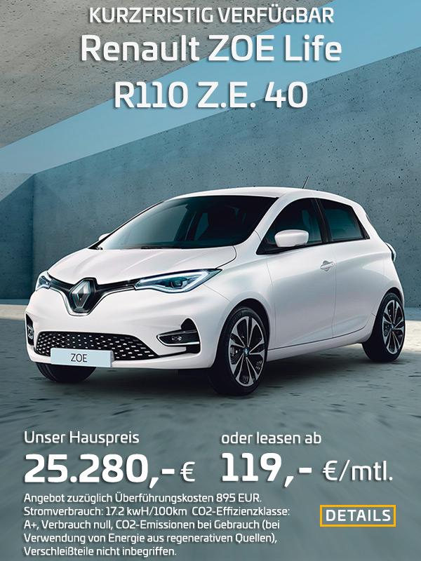 Renault ZOE R110 leasen für 119 EUR/mtl.