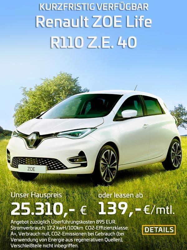 Renault ZOE R110 leasen für 139 EUR/mtl.