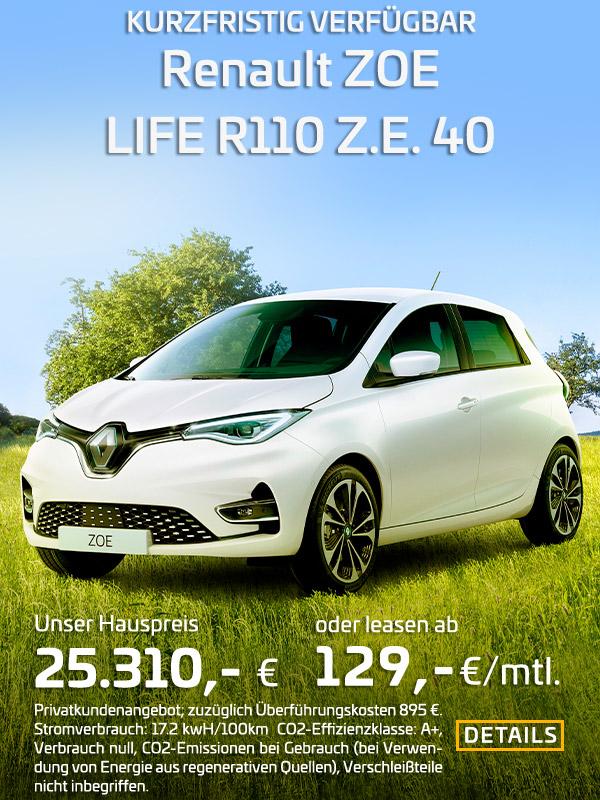 Renault ZOE R110 leasen für 129 EUR/mtl.