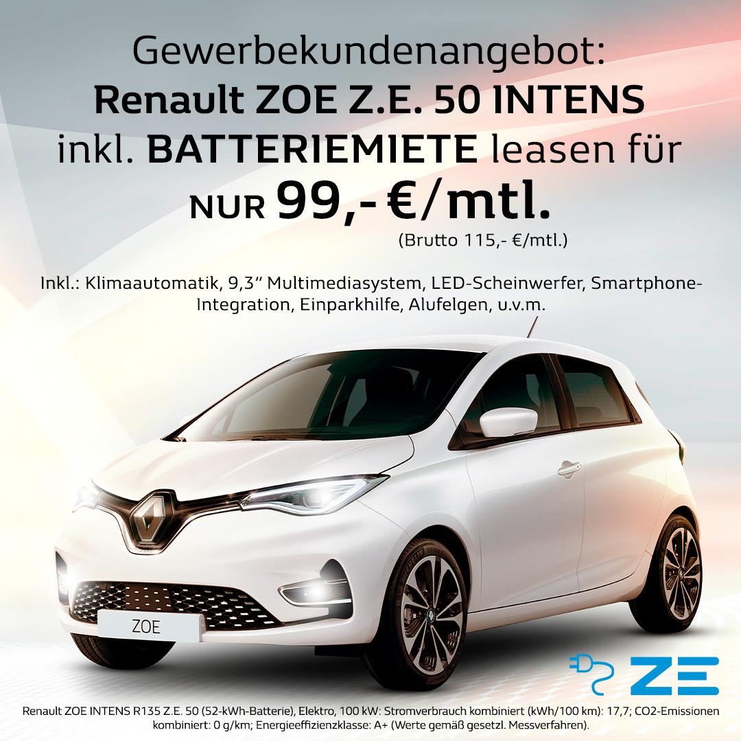 Renault Zoe Gewerbekunden Leasingangebot 149,- monatlich