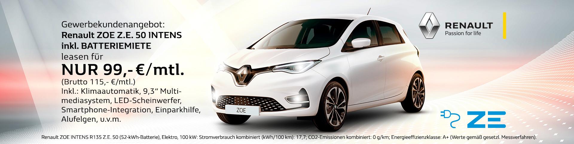 Renault Zoe Gewerbekundenangebot Leasing für 149,- Euro monatlich