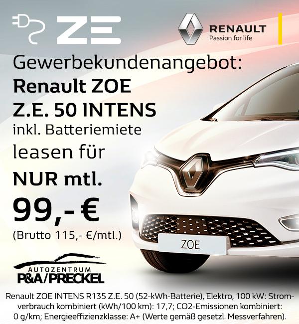 Renault Zoe Gewerbekundenangebot für 99,-€/mtl. leasen