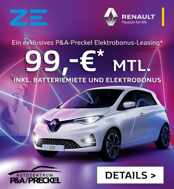 Jetzt ZOE für 99 EURO inkl. Batteriemiete monatlich leasen