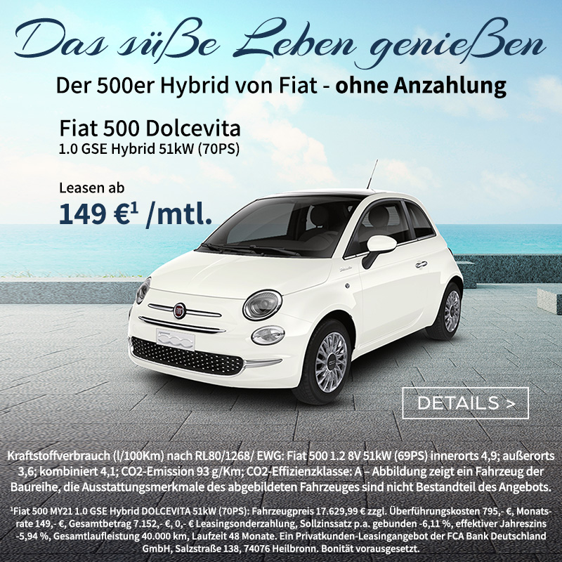 Fiat 500 DolceVita Hybrid-Fahrzeug leasen bei Autozentrum P&A/Preckel