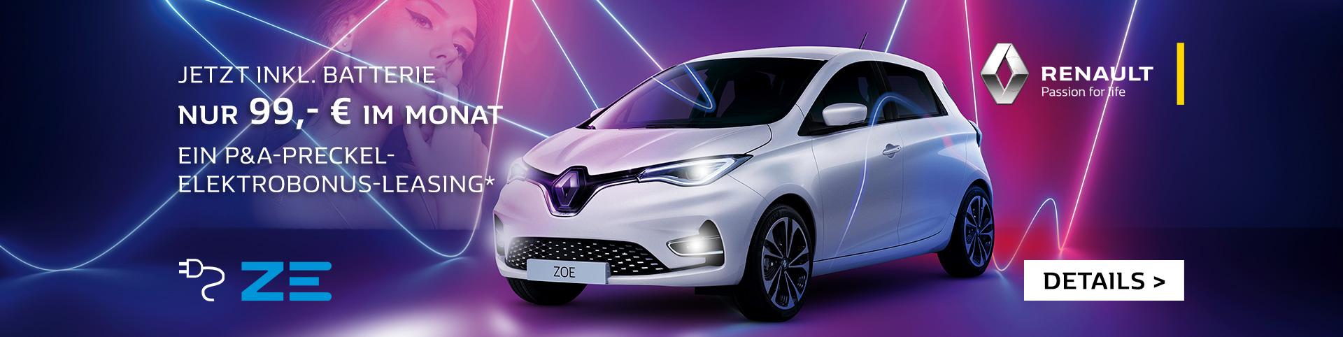Renault ZOE nur 99€ im Monat inkl. Batteriemiete leasen